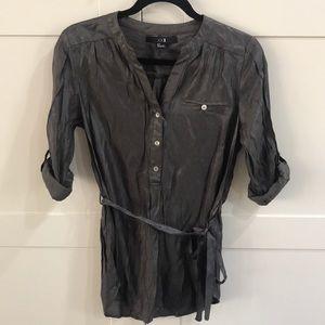 F21 metallic button down shirt dress